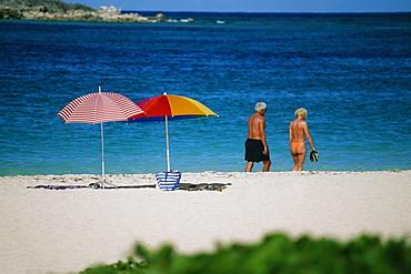 Rear view of a senior couple on a beach, Sunset & Nude Beach, Virgin Islands