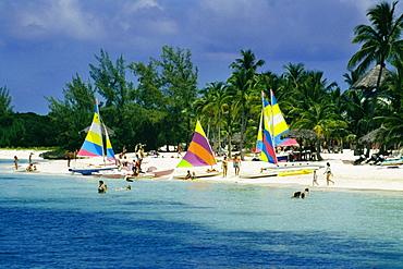 Colorful yachts seen on a seashore, Treasure Island, Abaco, Bahamas