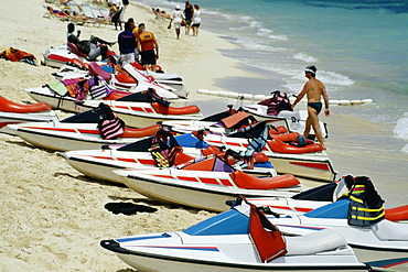 Side view of motor boats lined up on a seashore, Crystal Palace Hotel, Nassau, Bahamas