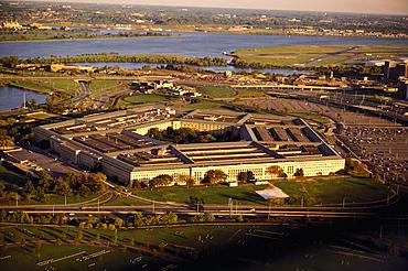 Aerial view of a military building, The Pentagon, Washington DC, USA