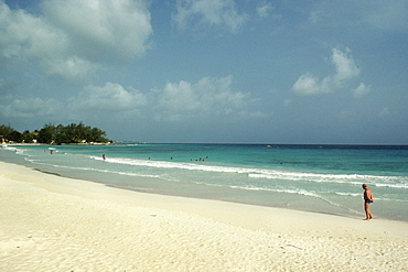 A view of St. Lawrence Gap Beach on the island of Barbados, Caribbean