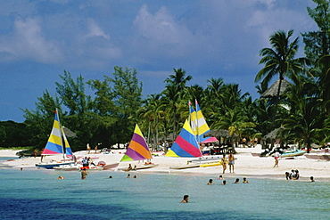 Colorful sails on a beach, Treasure Island, Abaco, Bahamas