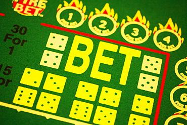 High angle view of symbols on a gaming table, Las Vegas, Nevada, USA