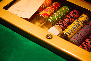 High angle view of gambling chips, Las Vegas, Nevada, USA