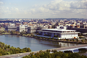 High angle view of a bridge over a river, Kennedy Center, Watergate Building, Washington DC, USA