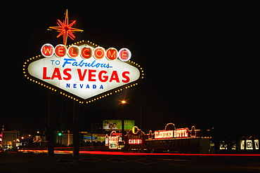 Welcome sign lit up at night, Las Vegas, Nevada, USA