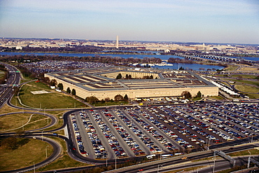 Aerial view of a parking lot beside a military building, The Pentagon, Washington DC, USA
