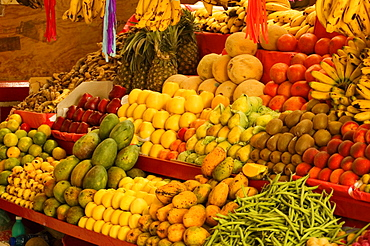Fruits and vegetables at a market stall, Mexico