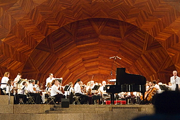 Group of musicians on stage, Boston, Massachusetts, USA