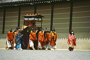 Group of people walking in a procession, Hollyhock festival, Kyoto Prefecture, Japan