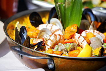 High angle view of seafood in a pan