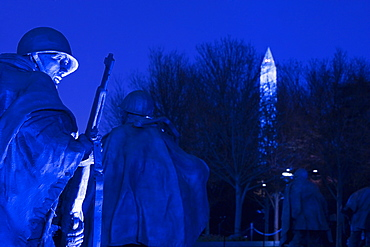 Low angle view of statues of army soldiers, Korean War Memorial, Washington DC, USA