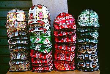 Baseball caps from tincans, Ho Chi Minh City (formerly Saigon) Vietnam