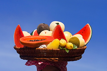 Close-up of assorted fruits in a wicker basket