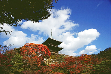 Low angle view of a Buddhist temple, Kiyomizu-Dera Temple, Kyoto Prefecture, Japan