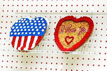 Low angle view of heart shaped cookie cakes