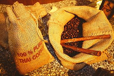 High angle view of coffee beans in burlap sacks, Bangkok, Thailand