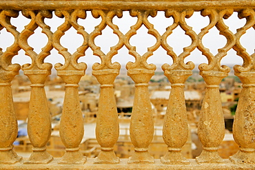 Close-up of a carved grille, Rajmahal, Jaisalmer, Rajasthan, India