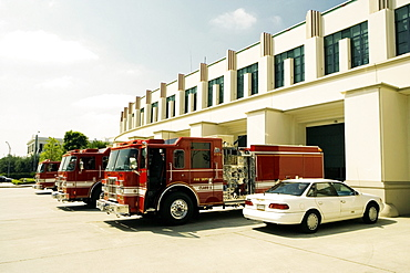 Side profile of fire engines at a fire department, Beverly Hills Fire Department, Los Angeles, California, USA