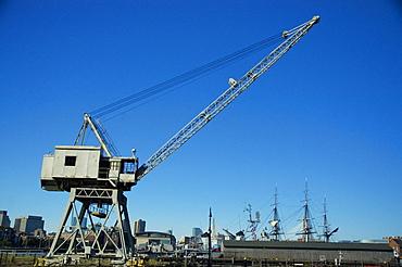 Crane on a dock, Boston Harbor, Boston, Massachusetts, USA