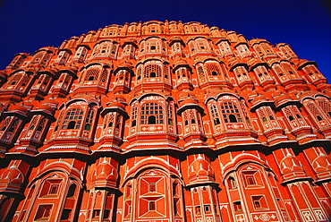 Low angle view of a palace, Palace of the Winds, Jaipur, Rajasthan, India