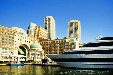 Buildings at a waterfront, Rowes Wharf, Boston Harbor, Boston, Massachusetts, USA