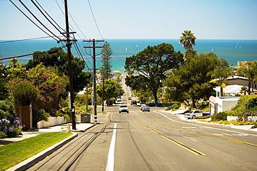 Rear view of cars driving on a street on Coronado Island, San Diego, California, USA
