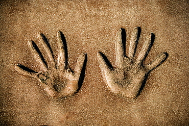Close-up of handprints in cement at a theater, Mann's Chinese Theater, Los Angeles, California, USA