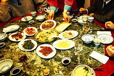 Businessmen at a banquet table, Nanjing, Jiangsu Province, China