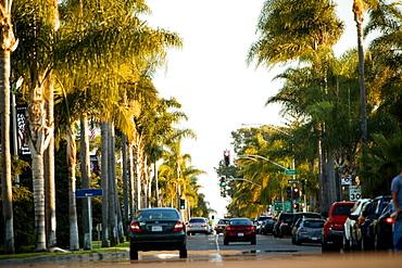 Rear view of traffic on a boulevard, San Diego, California, USA