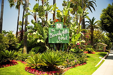 Entrance to a hotel, Beverly Hills Hotel, Los Angeles, California, USA