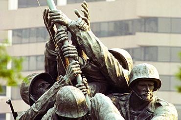 Close-up of a war memorial, Iwo Jima Memorial, Virginia, USA