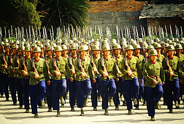 Army soldiers marching in a parade, Chengdu, Sichuan Province, China