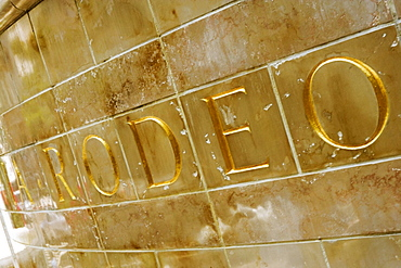Close-up of a tiled Rodeo sign, Los Angeles, California, USA