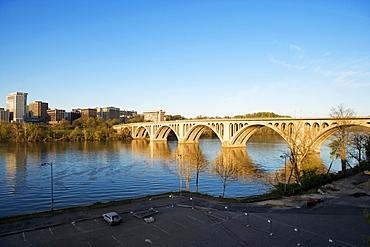 High angle view of key bridge crossing the Potomac River, Washington DC, USA
