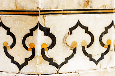Close-up of marble inlay on the wall, Taj Mahal, Agra, Uttar Pradesh, India