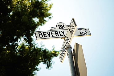 Low angle view of a Beverly Hills Drive Sign, Los Angeles, California, USA