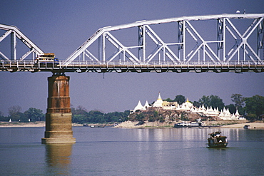 Bridge across a river with a pagoda in the background, Ava bridge, Shwe Kyet Yet Pagoda, Ayeyarwady River, Mandalay, Myanmar