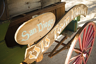 High angle view of a wooden sign for the San Diego Old Town Market, San Diego, California, USA