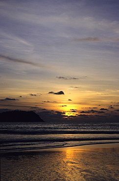 Sunset over an island, Phi Phi Islands, Andaman Sea, Thailand
