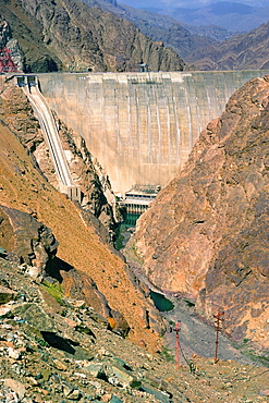 High angle view of a hydroelectric power station in a valley, Turkey