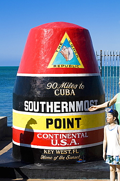 Structure marking the southernmost point of United States, Key West, Florida, USA