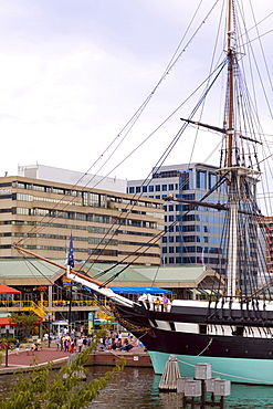 Tall ship moored at a harbor, USS Constellation, Inner Harbor, Baltimore, Maryland, USA