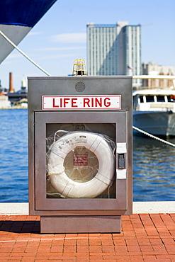 Life belt at a dock, Inner Harbor, Baltimore, Maryland, USA