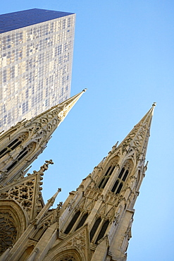 Low angle view of a cathedral, St. Patrick's Cathedral, Manhattan, New York City, New York State, USA