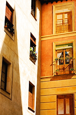 Low angle view of potted plants in a balcony, Toledo, Spain