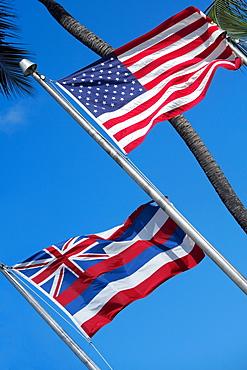 Low angle view of flags, Honolulu, Oahu, Hawaii Islands, USA