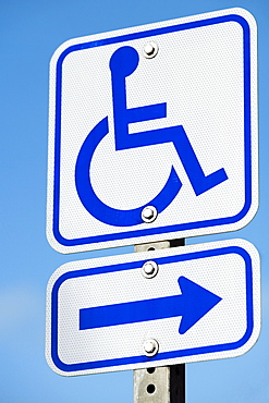 Low angle view of a disabled driver signboard on a pole, Kapaau, Big Island, Hawaii Islands, USA