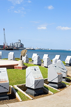 Stone monuments in a park, Pearl Harbor, Honolulu, Oahu, Hawaii Islands, USA