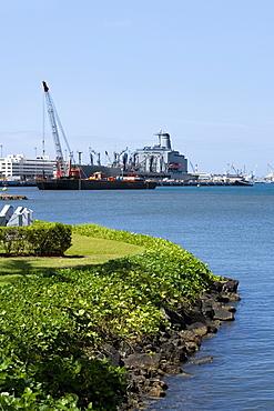 Military ship and a crane at a commercial dock, Pearl Harbor, Honolulu, Oahu, Hawaii Islands, USA